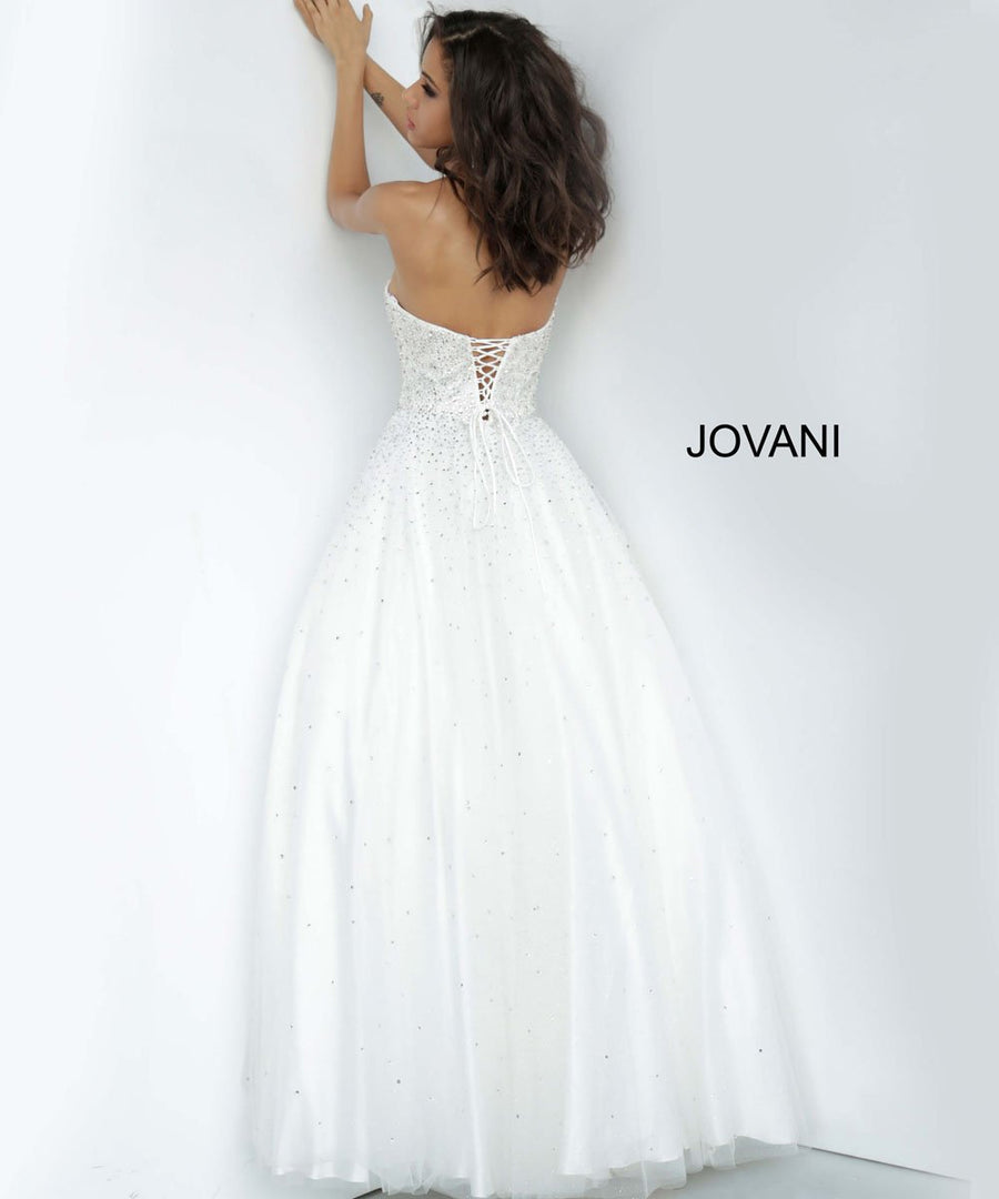 Jovani 65664 prom dress images.  Jovani 65664 is available in these colors: Light Blue, Light Pink, Off White.
