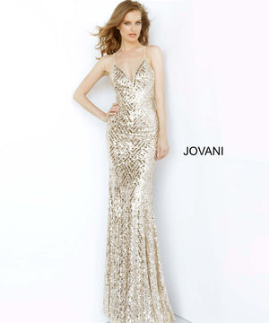 Jovani 65836 prom dress images.  Jovani 65836 is available in these colors: Champagne.