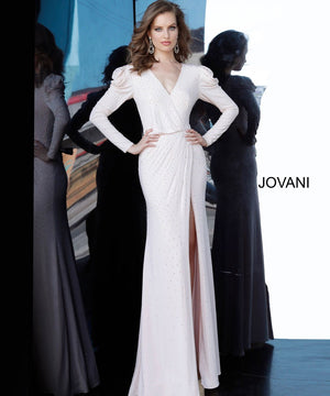 Jovani 66323 prom dress images.  Jovani 66323 is available in these colors: Black, Blush, Indigo, Off White, Red.