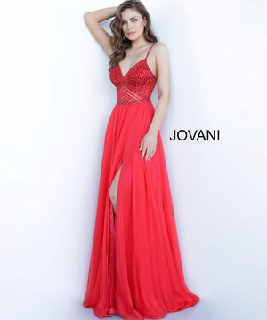 Jovani 66925 prom dress images.  Jovani 66925 is available in these colors: Navy, Off White, Red.