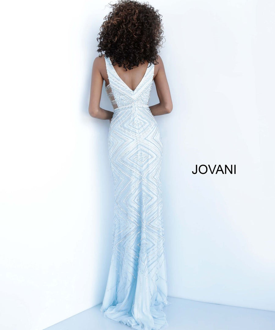Jovani 67668 prom dress images.  Jovani 67668 is available in these colors: Silver Blue, Silver Nude.