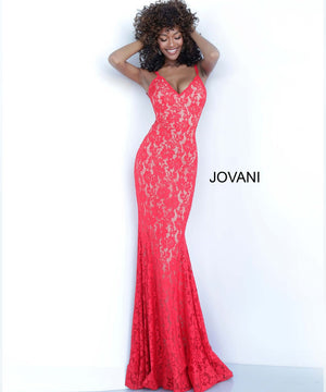 Jovani 68005 prom dress images.  Jovani 68005 is available in these colors: Ivory, Navy, Peach, Perriwinkle, Red.