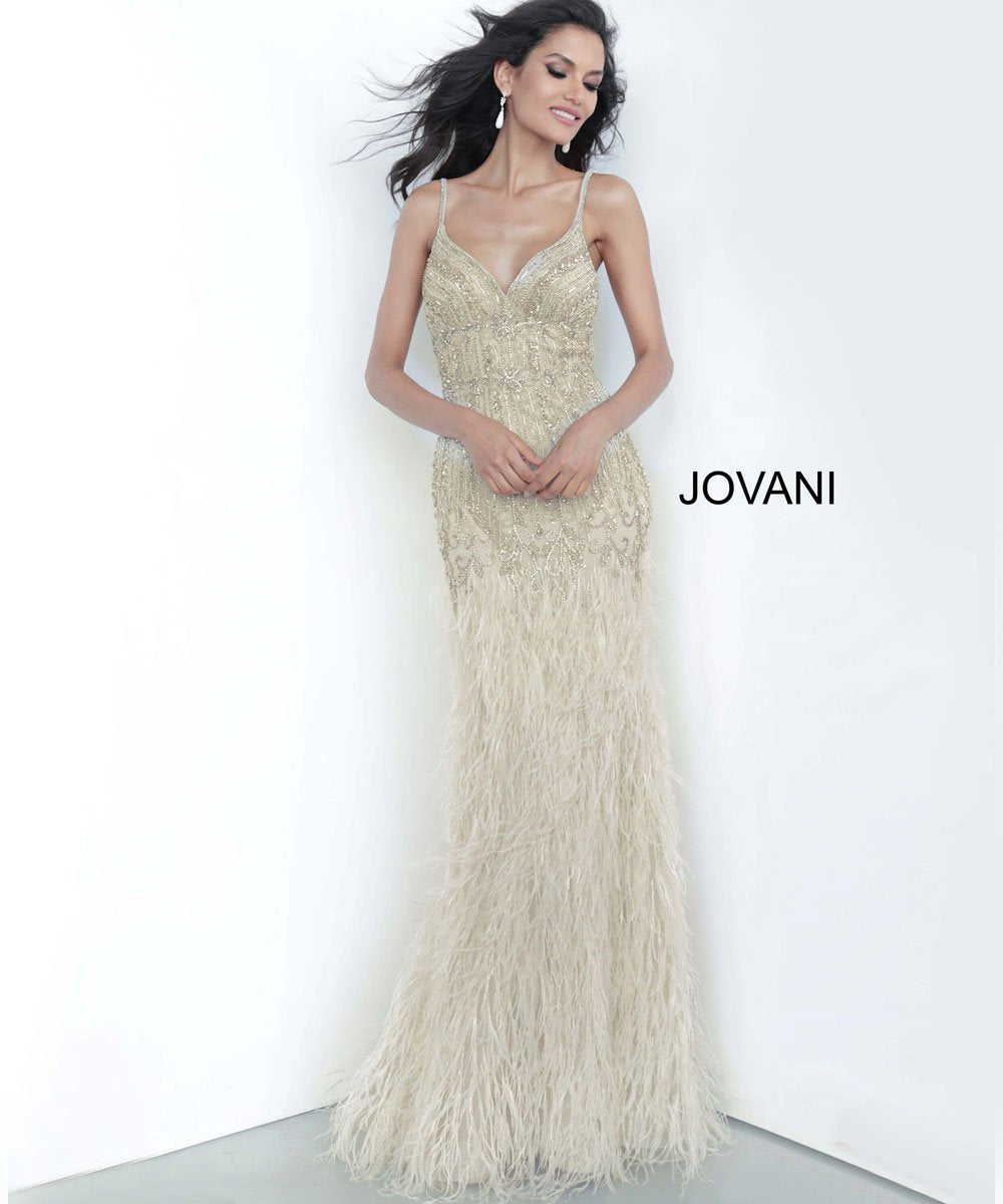 Jovani 68827 prom dress images.  Jovani 68827 is available in these colors: Cream.