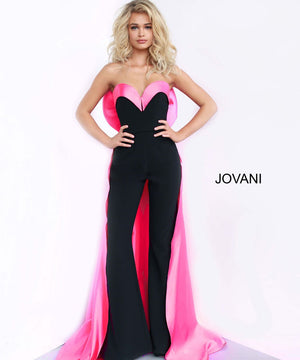 Jovani 8008 prom dress images.  Jovani 8008 is available in these colors: Black Pink, Black White, Ivory Ivory.