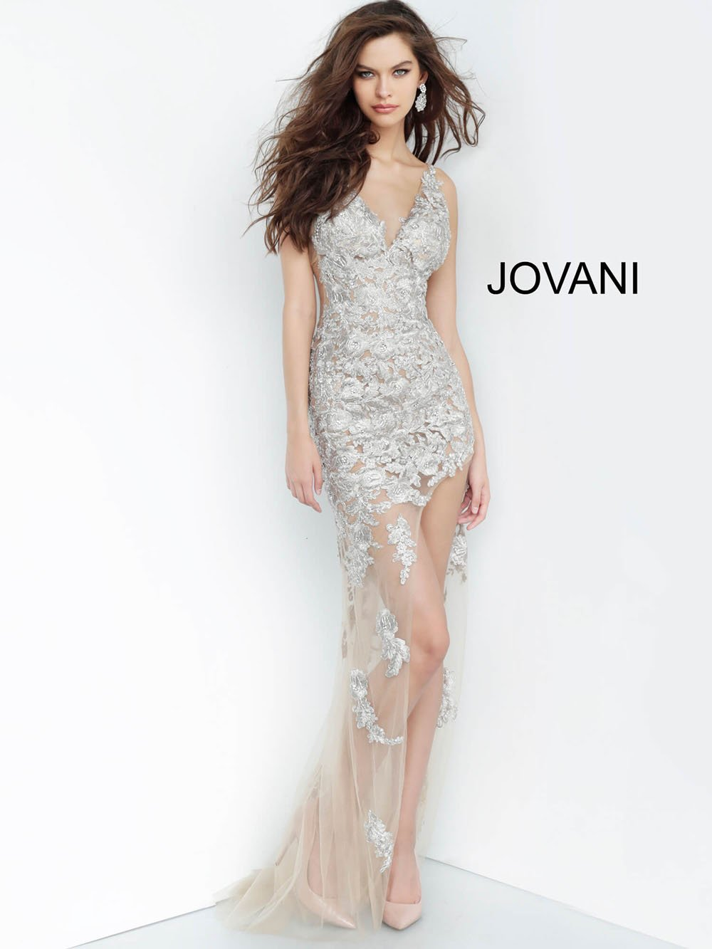 Jovani 4083 prom dress images.  Jovani 4083 is available in these colors: Taupe.