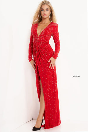 Jovani 3058 prom dress images.  Jovani 3058 is available in these colors: Black, Emerald, Off White, Red.