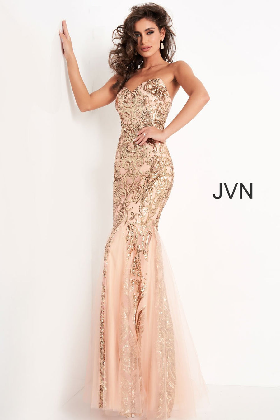 Jovani JVN00954 prom dress images.  Jovani JVN00954 is available in these colors: Black, Rose Gold.