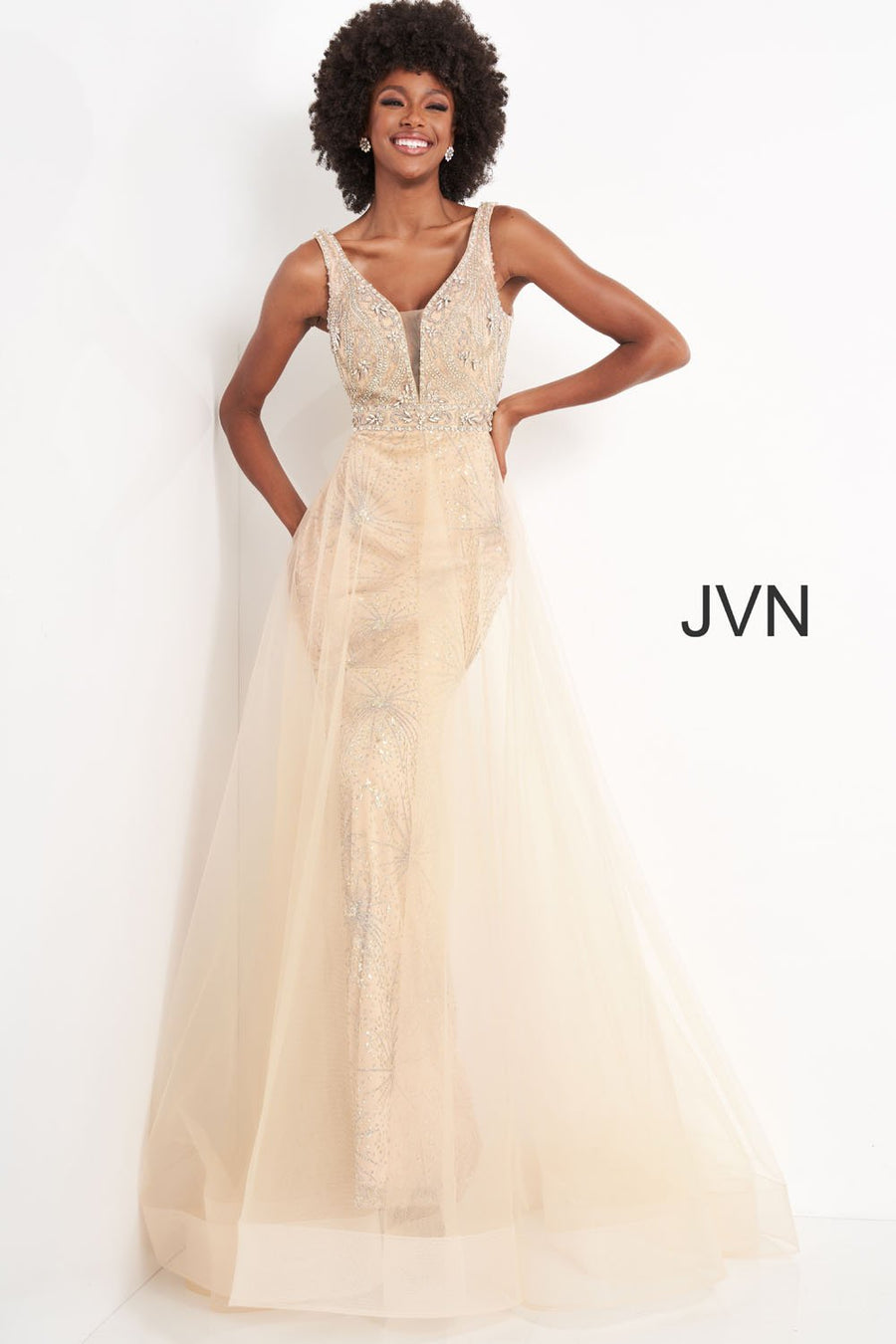 Jovani JVN2343 prom dress images.  Jovani JVN2343 is available in these colors: Champagne, Smoke.