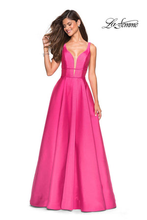 La Femme 26768 prom dress images.  La Femme 26768 is available in these colors: Bright Pink, Emerald, Pale Yellow, Sapphire Blue.