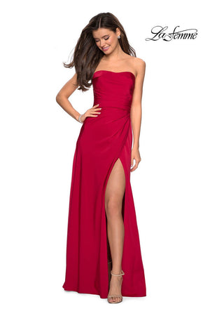 La Femme 26794 prom dress images.  La Femme 26794 is available in these colors: Blush, Burgundy, Sapphire Blue, Silver.