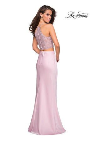 La Femme 26926 prom dress images.  La Femme 26926 is available in these colors: Blush, Cloud Blue.