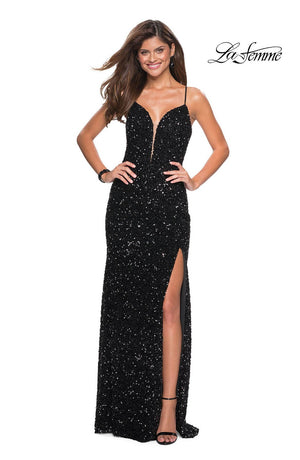 La Femme 26937 prom dress images.  La Femme 26937 is available in these colors: Black, Fuchsia.