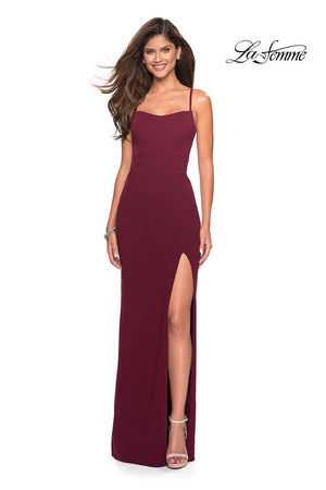 La Femme 26940 prom dress images.  La Femme 26940 is available in these colors: Black, Burgundy, Sapphire Blue, White.