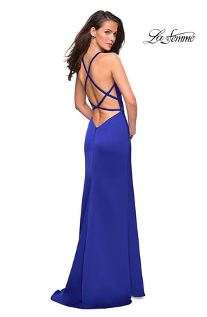 La Femme 26946 prom dress images.  La Femme 26946 is available in these colors: Burgundy, Electric Blue, White.
