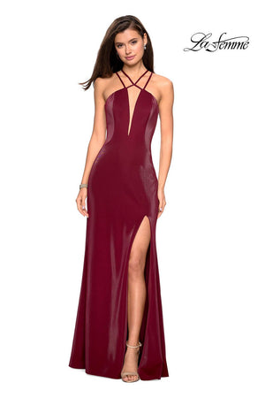 La Femme 26963 prom dress images.  La Femme 26963 is available in these colors: Burgundy, Forest Green, Navy.