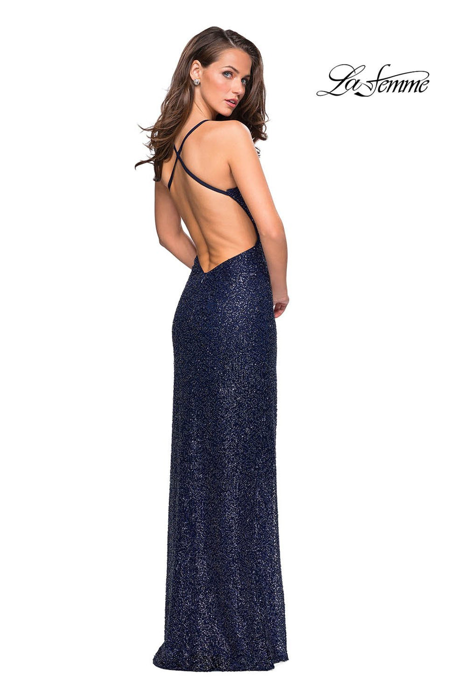 La Femme 26964 prom dress images.  La Femme 26964 is available in these colors: Midnight Blue.
