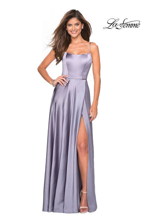 La Femme 26977 prom dress images.  La Femme 26977 is available in these colors: Deep Red, Platinum, White.