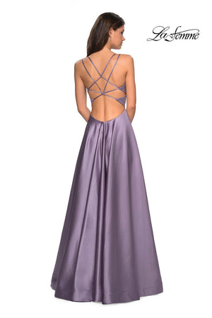 La Femme 26994 prom dress images.  La Femme 26994 is available in these colors: Blush, Dark Berry, Deep Red, Lavender Gray, Navy, Sapphire Blue.