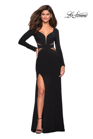 La Femme 26995 prom dress images.  La Femme 26995 is available in these colors: Black.