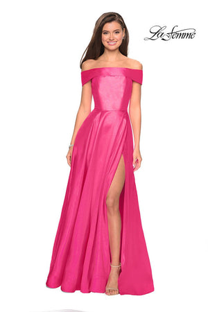 La Femme 27005 prom dress images.  La Femme 27005 is available in these colors: Black, Bright Pink, Garnet, Light Purple, Light Yellow.