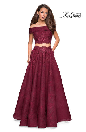 La Femme 27028 prom dress images.  La Femme 27028 is available in these colors: Burgundy, Navy, White Nude.