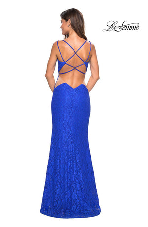La Femme 27029 prom dress images.  La Femme 27029 is available in these colors: Black, Electric Blue, Red, White.