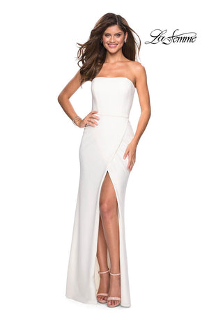 La Femme 27035 prom dress images.  La Femme 27035 is available in these colors: Black, White.