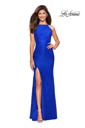 La Femme 27046 prom dress images.  La Femme 27046 is available in these colors: Electric Blue, Red, White.