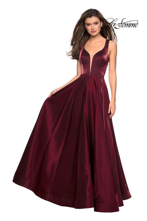 La Femme 27049 prom dress images.  La Femme 27049 is available in these colors: Burgundy, Gunmetal, Navy, Plum.