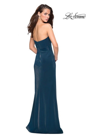 La Femme 27051 prom dress images.  La Femme 27051 is available in these colors: Electric Blue, Red, Teal.