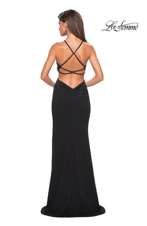 La Femme 27070 prom dress images.  La Femme 27070 is available in these colors: Black, Burgundy, White.