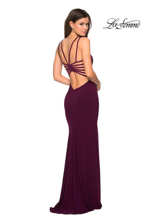 La Femme 27072 prom dress images.  La Femme 27072 is available in these colors: Black, Dark Berry, Royal Blue, White.