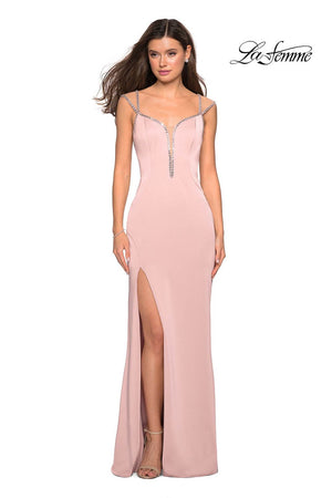 La Femme 27081 prom dress images.  La Femme 27081 is available in these colors: Blush, Cloud Blue, Silver.