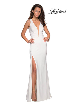 La Femme 27082 prom dress images.  La Femme 27082 is available in these colors: Black, Red, White.