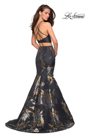 La Femme 27083 prom dress images.  La Femme 27083 is available in these colors: Black Gold.