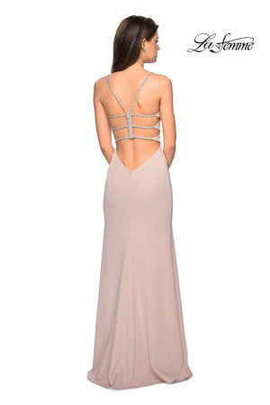 La Femme 27089 prom dress images.  La Femme 27089 is available in these colors: Gunmetal, Navy, Nude.