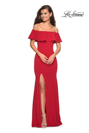 La Femme 27096 prom dress images.  La Femme 27096 is available in these colors: Black, Red, White.