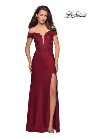 La Femme 27097 prom dress images.  La Femme 27097 is available in these colors: Black, Hunter Green, Wine.