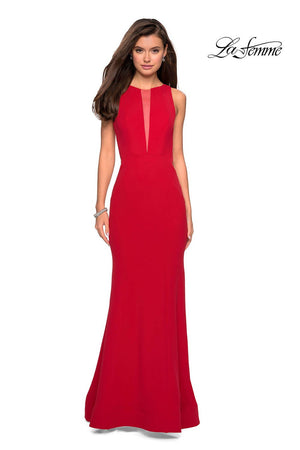 La Femme 27124 prom dress images.  La Femme 27124 is available in these colors: Black, Red, Sapphire Blue, White.