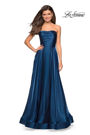La Femme 27130 prom dress images.  La Femme 27130 is available in these colors: Cloud Blue, Dark Berry, Lavender, Teal.