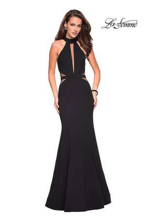 La Femme 27147 prom dress images.  La Femme 27147 is available in these colors: Black.
