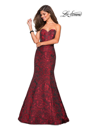 La Femme 27149 prom dress images.  La Femme 27149 is available in these colors: Black, Red, Royal Blue.