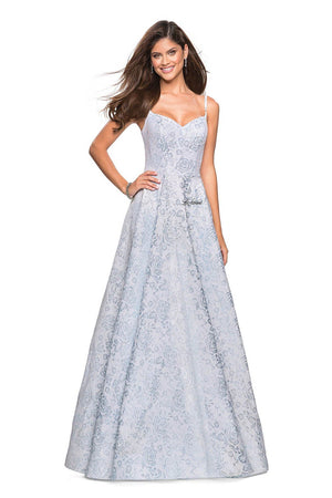 La Femme 27162 prom dress images.  La Femme 27162 is available in these colors: Light Blue, Light Gold.
