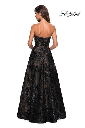 La Femme 27164 prom dress images.  La Femme 27164 is available in these colors: Black Nude.