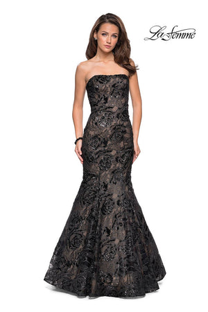 La Femme 27178 prom dress images.  La Femme 27178 is available in these colors: Black Nude, Red Black, White Nude.