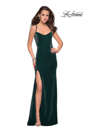 La Femme 27179 prom dress images.  La Femme 27179 is available in these colors: Black, Forest Green, Red.