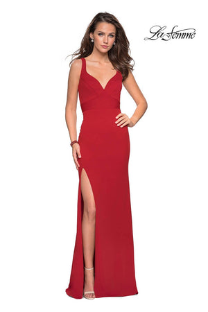 La Femme 27181 prom dress images.  La Femme 27181 is available in these colors: Black, Red, White, Yellow.
