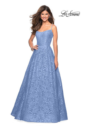 La Femme 27190 prom dress images.  La Femme 27190 is available in these colors: Cloud Blue, Lavender, White Nude, Yellow.