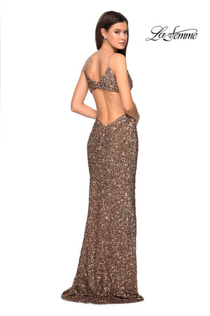 La Femme 27191 prom dress images.  La Femme 27191 is available in these colors: Copper, Gunmetal, Marine Blue.