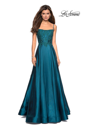 La Femme 27222 prom dress images.  La Femme 27222 is available in these colors: Burgundy, Hot Pink, Royal Blue, Teal.